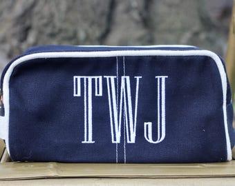 Monogrammed Dopp kit   Dopp Kitt   Travel Bag   Gifts for Him   Monogram Gifts   Personalized Gifts   Navy Gift l Man Gifts