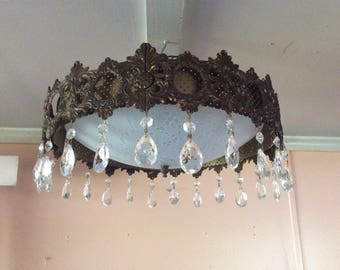 Vintage Art Deco Ceiling Light Fixture Semi Flush Virden Light Co Orig Patina Brass and Crystals 1940s