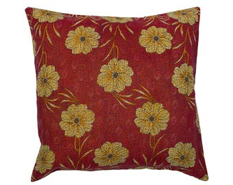 Kantha Cushion Cover - Red with Beige and Ochre