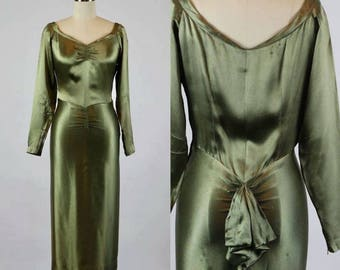 1940s dress, olive green satin with wide neckline