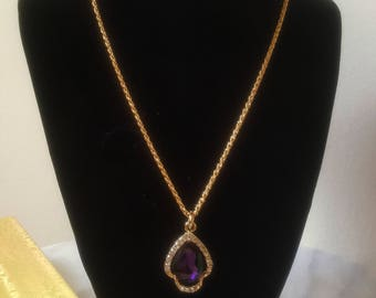 Purple Pendant Necklace with  an 18 inch 18K Gilded Gold Plated chain