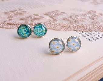 Romantic floral print Stud earrings Cabochon earrings Set of 2 pairs Gift under 10 Cottage chic White flowers earrings