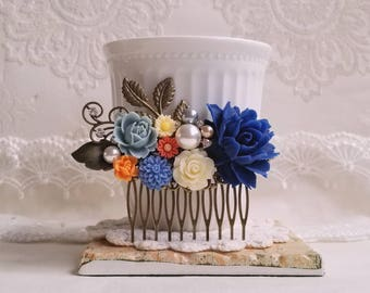 Navy blue and Dusty blue flowers Country garden hair accessory Bridal hair comb Pearl assemblage Something blue