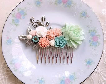 Mint green Dusty pink Dusty blue Silver bridal flower hair comb Shabby chic flower jewelry Country garden hair accessory
