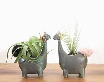 llama vase / alpaca vase/ air plant vase / antique jade / one llama