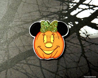 Pumpkin Minnie Pin Handcrafted Mouse Head Ears With A Bit Of Glitz Brooch Flair Halloween Lapel Pin Tie Tack Hat Pin