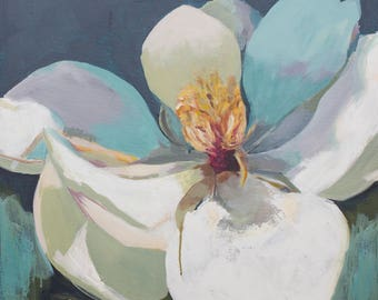 white magnolia abstract painting acrylic on canvas navy, teal, yellow