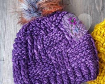 Chunky knit VIOLET soft handspun pom pom hat Malabrigo Beanie