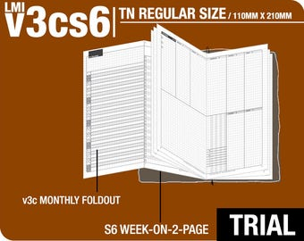 Trial [TN regular v3cs6 w/o DAILY] November to December 2017 - Midori Travelers Notebook Refills Printable Planner.