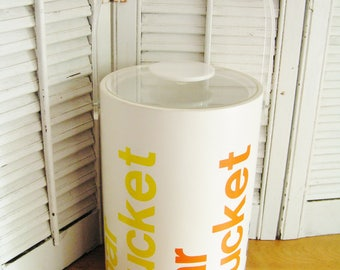 Vintage Retro Morgan Tall Ice Bucket with Lucite Handle and Lid Bar Bucket Graphics in Cool Retro Colors on White