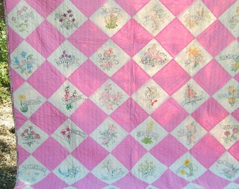 Vintage 40s Handmade Painted State Flower Quilt in Pink and White Cottage Chic Unused Unwashed and Clean All Cotton