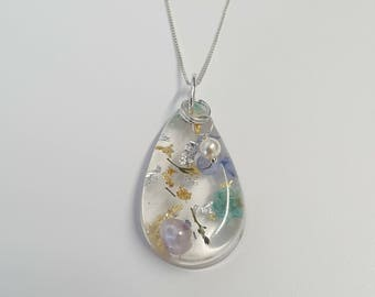 Sterling Silver Resin Teardrop and Swarovski Pearl Necklace (A)