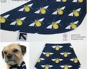 Etsy Teams 4Mcr Navy Manchester Bee print handmade Dog Bandana Size S