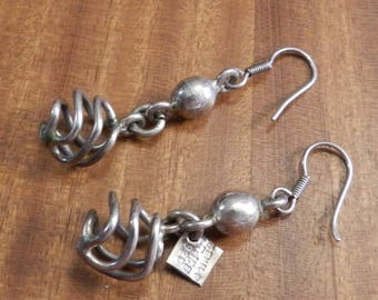 Sterling Silver Dangle Fish Hook Earrings