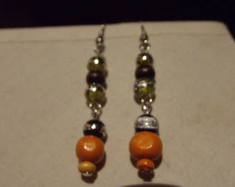 Earrings 3cm drilled glass beads and wood