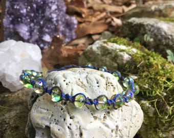Sparkly Green Bracelet, Beaded Hemp Bracelet, Brown and Blue Macrame Bracelet, Adjustable Beaded Bracelet