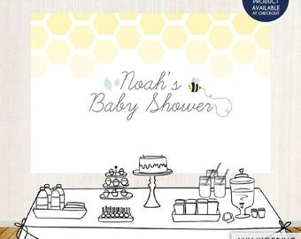 Bumble BEE Baby Shower Party Backdrop - Mom to Bee Baby Shower Banner - Any Wording - Printed or Printable File