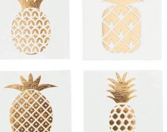 72 Gold Foil Pineapple Temporary Tattoos Tropical Party Favors Bridal Shower Bacholerette Party - Flash Tattoos - Body Art