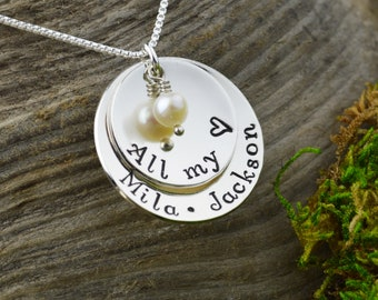 Hand Stamped All My Love Mothers Necklace • Personalized Pendant Necklace • Custom Engraved Mom Jewelry
