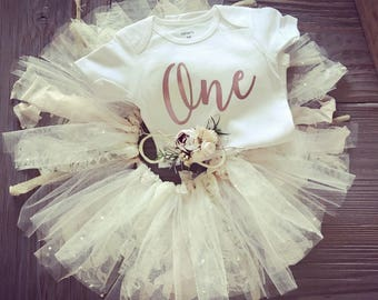 Rose Gold and lace ONE tutu outfit flower headband =gorgeous