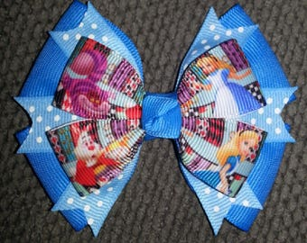 Alice In Wonderland Blue Baby Blue Handmade Boutique Bow