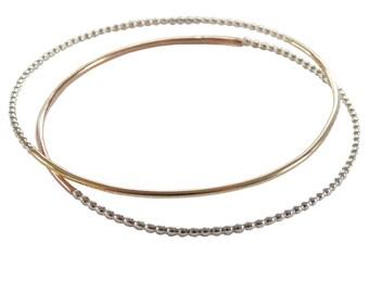 Mixed Metal Bangle; Silver and Gold Fill; Mixed Metal Bracelet; Mixed Metal Jewelry; Gold Fill Bracelet; Sterling Bracelet; Gold and Silver