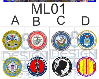 Military Snap Charms/Buttons Size #24 8mm or #20 4.76 mm . Armed Forces,Interchangeable Jewelry,Necklace, Veterans  ML01