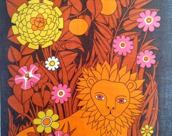 1970s Pat Albeck Design For Jonelle - Lion in the Flowers - Stunning Design -Linen Tea Towel - Wall hanging