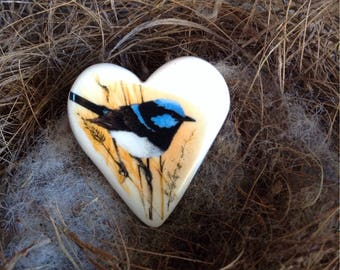 Australian Fairy Wren, Handmade Ceramic Bird Heart Brooch