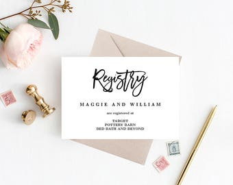 Registry Cards Editable Template - Printable PDF - BRUSHED - Wedding Registry Cards