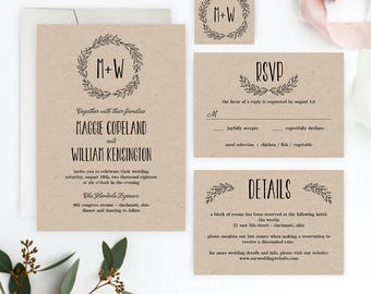 Wreath Initials Printable Wedding Suite Set - Wedding Invitation Editable PDF Template - Instant Download