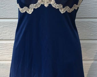 Vintage Full Slip, Navy  with  Ecru Lace, Large. 36, Slip Dress