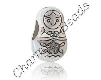 1 Pearl charm doll Russian Matryoshka metal compatible pandor chamili