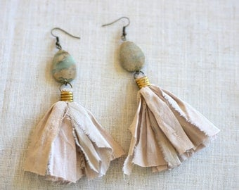 Sari Silk Tassel Earrings with Impression Jasper