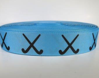 "5 yards of 7/8 inch ""hockey sticks"" grosgrain ribbon"