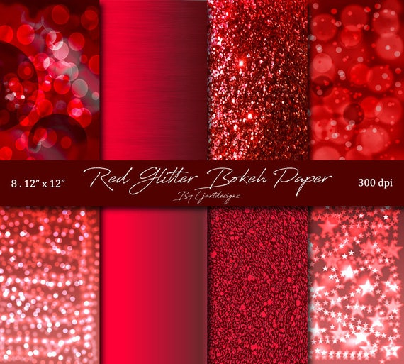 Red Sparkle Paper Bokeh Glitter Satin Brushed Satin Scrapbook