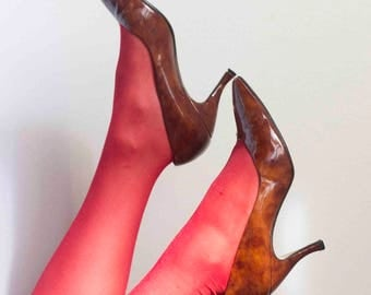 1980s Tortoise Shell Patent Leather Pumps // Size 8 1/2
