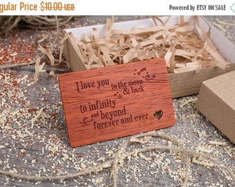 ON SALE TODAY Wood Wallet Personalized Insert Card, Valentine's Day gift love phrase, boyfriend gift, Custom Wallet Insert love card for him