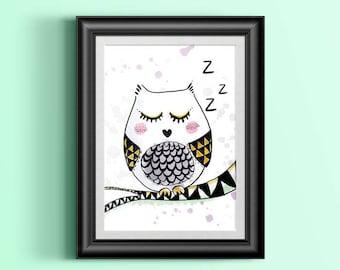 A4 print - little OWL who sleeps