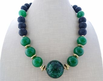 Green carved jade necklace, chunky stone necklace, black lava rock necklace, beaded necklace, big bold necklace, exotic summer jewelry