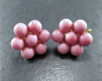 Vintage Purple Bead Cluster Earrings Screw Back 50s
