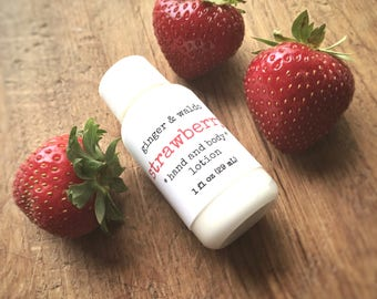 Strawberry Hand and Body Lotion SAMPLE SIZE - Strawberry - Hand and Body Lotion - Strawberry Lotion - Vegan Lotion - Fresh Picked Collecti