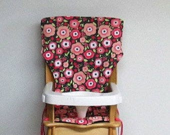 replacement high chair pad, feeding chair pad, high chair cover, Eddie Bauer baby accessory, baby and child care, wood chair, poppy flowers