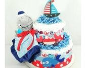 Nautical Diaper Cake  Nautical Baby Shower  Nautical Baby Shower Cakes  Nautical Baby Gifts  Nautical  Nautical Baby Shower Centerpieces