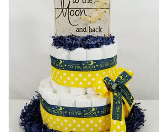 I Love You Diaper Cake  Love You To The Moon  Love You To The Moon Baby Shower  Love You To The Moon Diaper Cake  Baby Gifts  Diaper Cakes
