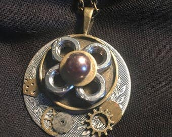 Steampunk pretty as a flower pendant