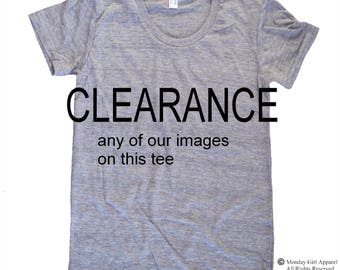 CLEARANCE choose any of our images on this tee shirt  Ladies American Apparel Tri Blend screenprint Track Tee Shirt