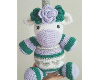 Unicorn hearts crochet stuffed animal toy plush toy plushie birthday gift Christmas present gold pink cute toddler baby shower gift custom