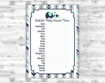 Instant Download Minr Grey Navy Boy Elepahnt Baby shower Game, Baby animals DIY Printable ( AREL001)