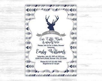 Deer baby shower invitation for boy shower woodland baby shower invitation arrows baby shower invitation arrows baby shower invite (SWW306)